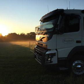 Ein LKW der Imkerei Tweeddale in Neuseeland beim Sonnenaufgang