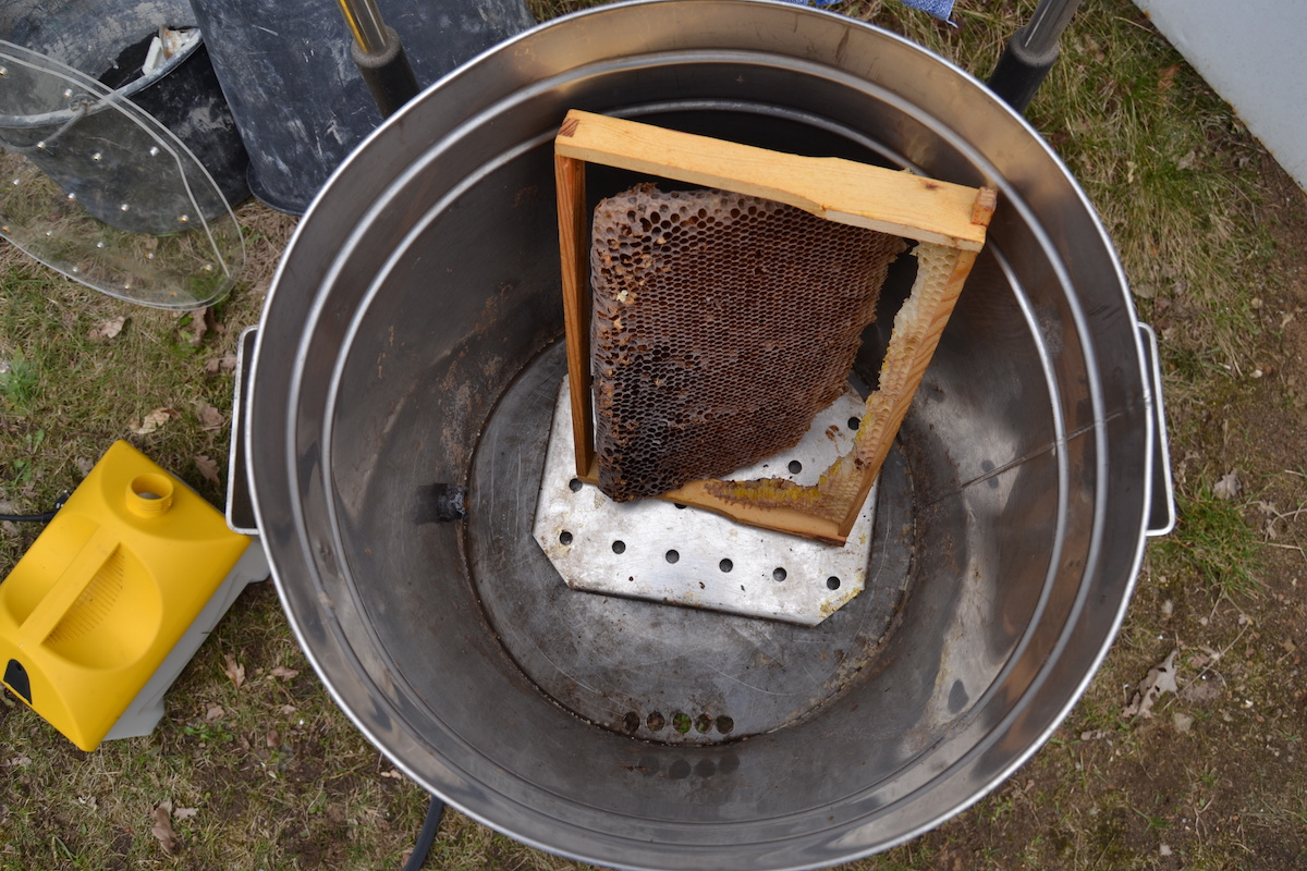 Eine dunkle Brutwabe aus einem Bienenvolk wird mit einem Dampfwachsschmelzer eingeschmolzen